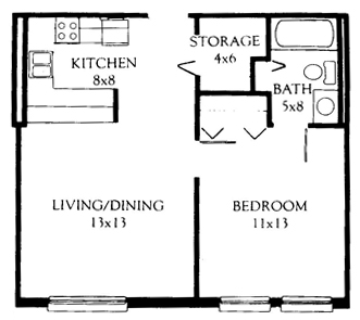 One Bedroom 523 Square Feet