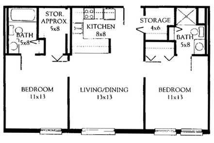 Two Bedroom 765 Square Feet