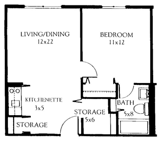One Bedroom 480 Square Feet