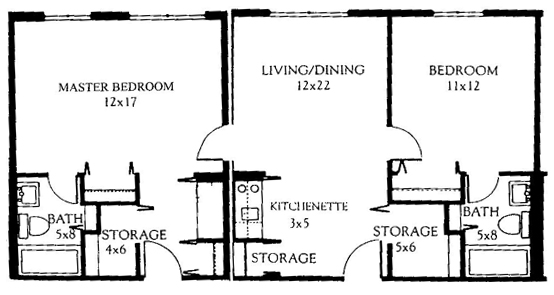 Two Bedroom Combo 815 Square Feet